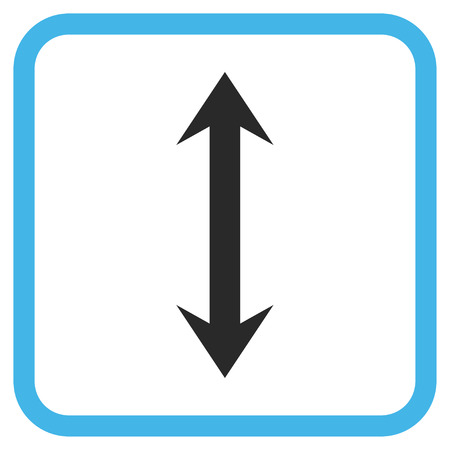 inverse: Vertical Flip blue and gray glyph icon. Image style is a flat pictogram symbol in a rounded square frame on a white background.