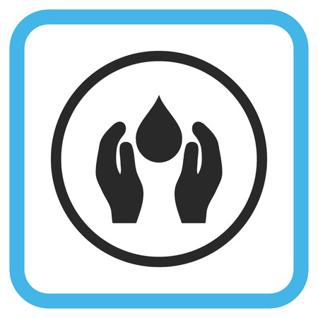 protection icon: Water Care blue and gray glyph icon. Image style is a flat iconic symbol inside a rounded square frame on a white background. Stock Photo
