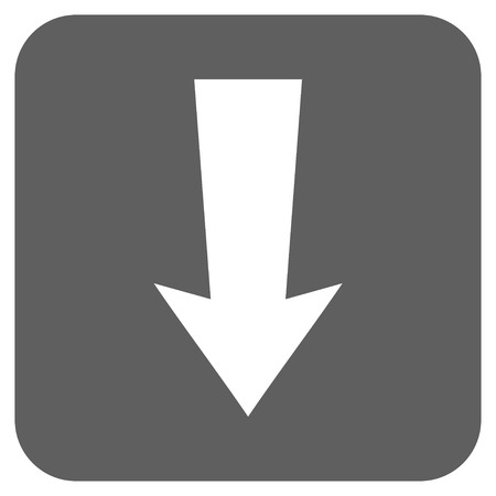vertical orientation: Arrow Down glyph icon. Image style is a flat icon symbol on a rounded square button, white and silver gray colors.