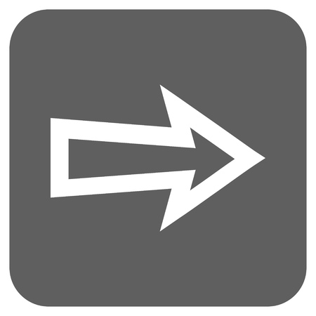 propel: Arrow Right glyph icon. Image style is a flat icon symbol in a rounded square button, white and silver gray colors.