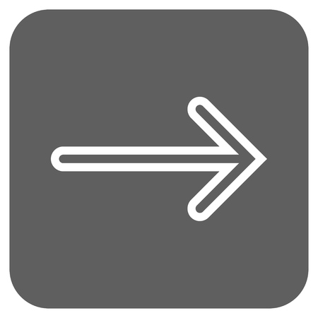 propel: Arrow Right glyph icon. Image style is a flat icon symbol inside a rounded square button, white and silver gray colors. Stock Photo