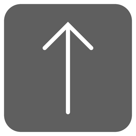 penetrating: Arrow Up glyph icon. Image style is a flat icon symbol in a rounded square button, white and silver gray colors. Stock Photo