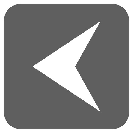 arrowhead: Arrowhead Left glyph icon. Image style is a flat icon symbol in a rounded square button, white and silver gray colors. Stock Photo