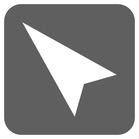 arrowhead: Arrowhead Left-Up glyph icon. Image style is a flat icon symbol on a rounded square button, white and silver gray colors.