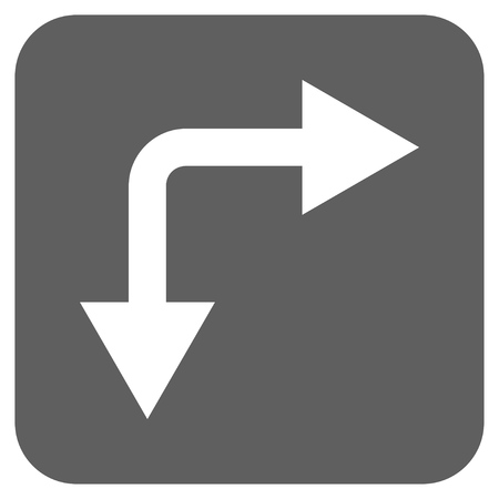 double cross: Bifurcation Arrow Right Down glyph icon. Image style is a flat icon symbol in a rounded square button, white and silver gray colors.