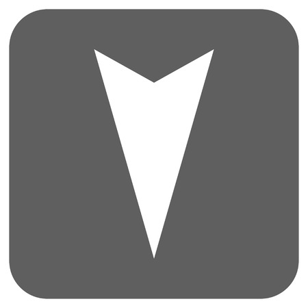 vertical orientation: Arrowhead Down glyph icon. Image style is a flat icon symbol inside a rounded square button, white and silver gray colors.
