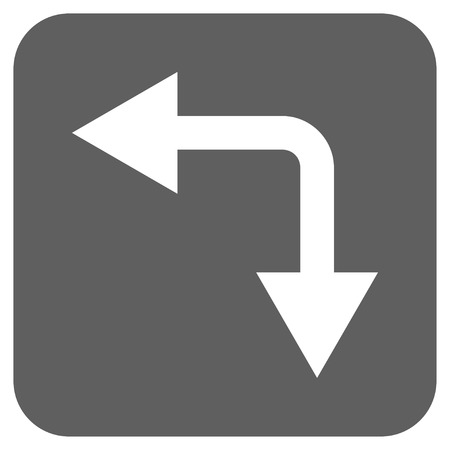 divide: Bifurcation Arrow Left Down glyph icon. Image style is a flat icon symbol inside a rounded square button, white and silver gray colors.