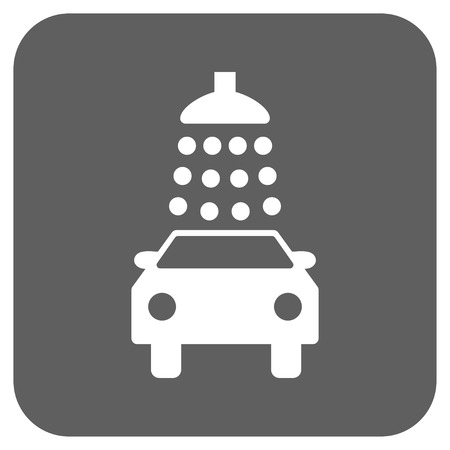 Car Wash glyph icon. Image style is a flat icon symbol in a rounded square button, white and silver gray colors.