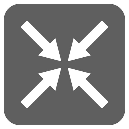 collide: Center Arrows glyph icon. Image style is a flat icon symbol inside a rounded square button, white and silver gray colors. Stock Photo