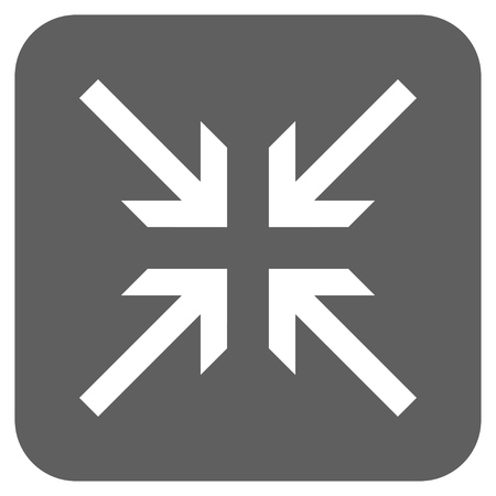 collide: Collide Arrows glyph icon. Image style is a flat icon symbol in a rounded square button, white and silver gray colors.
