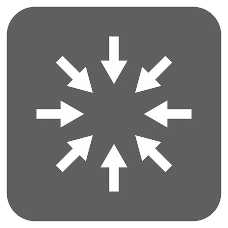 resize: Compact Arrows glyph icon. Image style is a flat icon symbol on a rounded square button, white and silver gray colors.