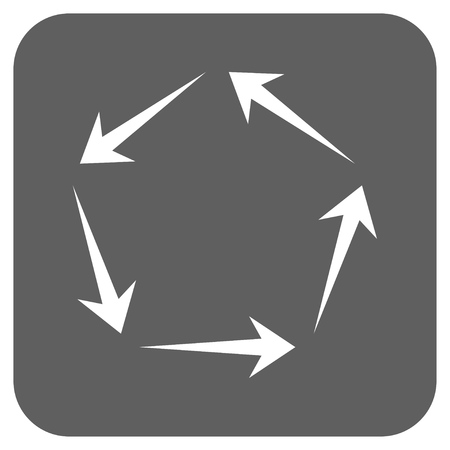 revolve: Circulation glyph icon. Image style is a flat icon symbol on a rounded square button, white and silver gray colors.