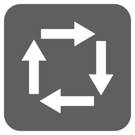 revolve: Circulation Arrows glyph icon. Image style is a flat icon symbol on a rounded square button, white and silver gray colors.