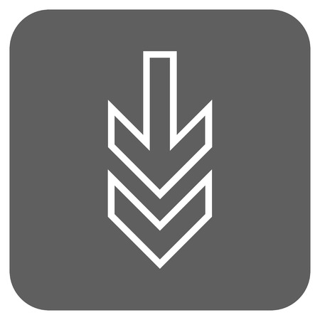 vertical orientation: Direction Down glyph icon. Image style is a flat icon symbol in a rounded square button, white and silver gray colors.