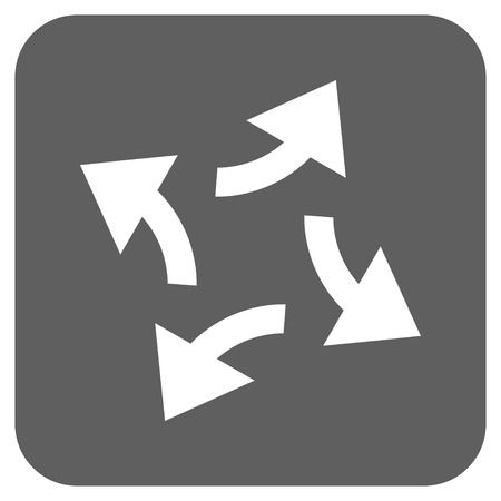 revolve: Centrifugal Arrows glyph icon. Image style is a flat icon symbol on a rounded square button, white and silver gray colors. Stock Photo