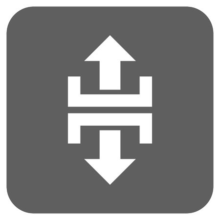 divide: Divide Vertical Direction glyph icon. Image style is a flat icon symbol on a rounded square button, white and silver gray colors. Stock Photo