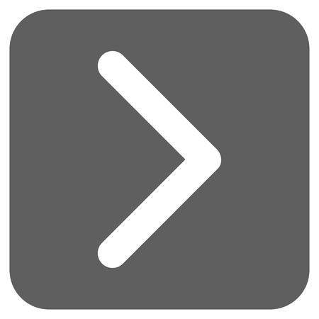 proceed: Direction Right glyph icon. Image style is a flat icon symbol in a rounded square button, white and silver gray colors.