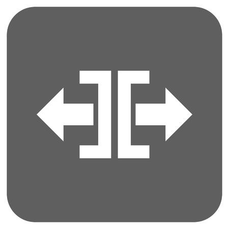 outwards: Divide Horizontal Direction glyph icon. Image style is a flat icon symbol inside a rounded square button, white and silver gray colors. Stock Photo