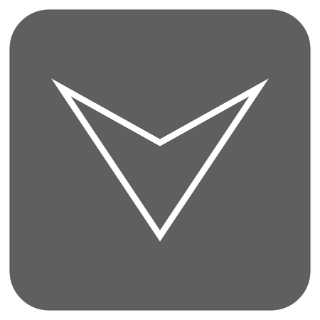vertical orientation: Arrowhead Down glyph icon. Image style is a flat icon symbol in a rounded square button, white and silver gray colors. Stock Photo
