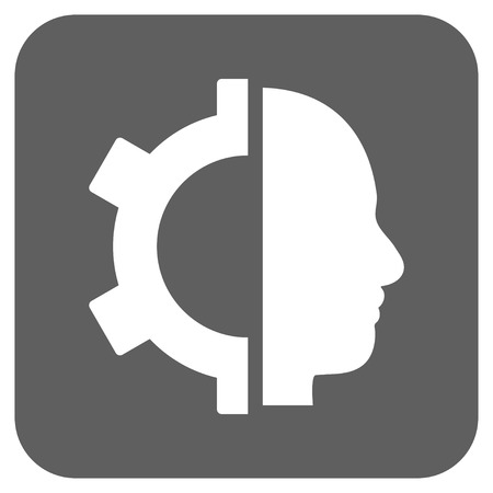 robo: Cyborg Gear glyph icon. Image style is a flat icon symbol inside a rounded square button, white and silver gray colors.
