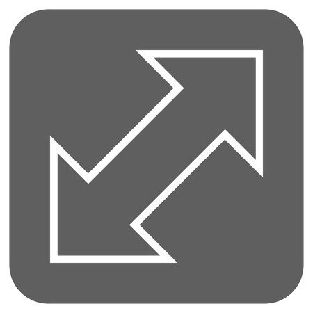 parallels: Exchange Diagonal glyph icon. Image style is a flat icon symbol on a rounded square button, white and silver gray colors. Stock Photo