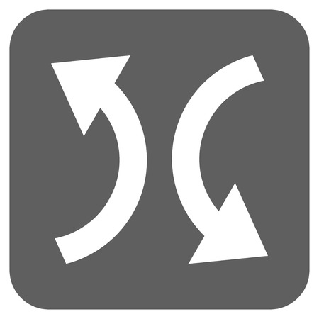 synchronize: Exchange Arrows glyph icon. Image style is a flat icon symbol in a rounded square button, white and silver gray colors.