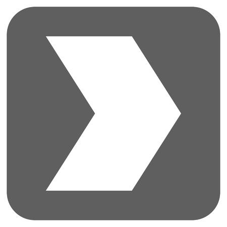 redirect: Direction Right glyph icon. Image style is a flat icon symbol in a rounded square button, white and silver gray colors.