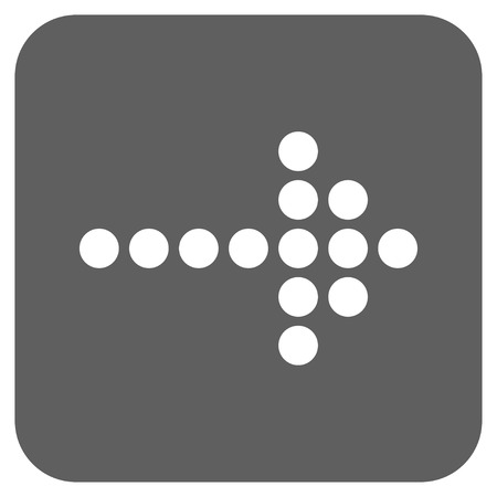 propel: Dotted Arrow Right glyph icon. Image style is a flat icon symbol in a rounded square button, white and silver gray colors. Stock Photo