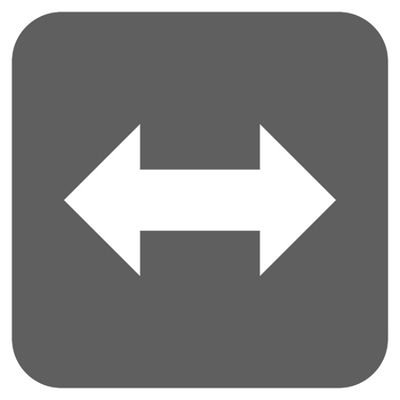 inverse: Horizontal Exchange Arrows glyph icon. Image style is a flat icon symbol inside a rounded square button, white and silver gray colors. Stock Photo