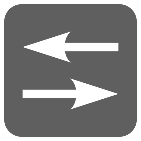 inverse: Horizontal Exchange Arrows glyph icon. Image style is a flat icon symbol on a rounded square button, white and silver gray colors.