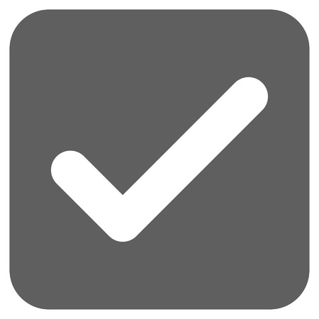 proceed: Ok glyph icon. Image style is a flat icon symbol in a rounded square button, white and silver gray colors. Stock Photo