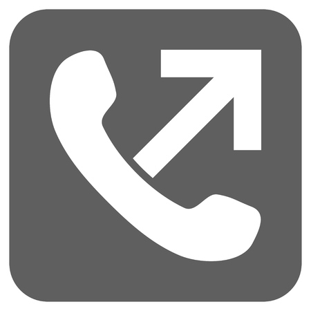 outgoing: Outgoing Call glyph icon. Image style is a flat icon symbol in a rounded square button, white and silver gray colors.