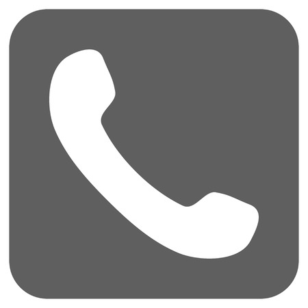 phone receiver: Phone Receiver glyph icon. Image style is a flat icon symbol on a rounded square button, white and silver gray colors. Stock Photo