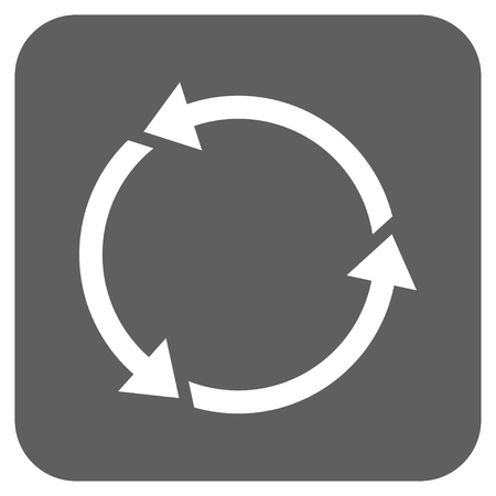 Recycle glyph icon. Image style is a flat icon symbol inside a rounded square button, white and silver gray colors.