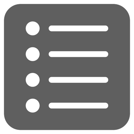 item list: Items glyph icon. Image style is a flat icon symbol on a rounded square button, white and silver gray colors. Stock Photo