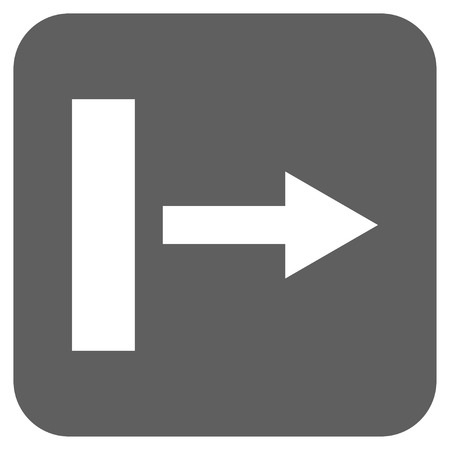 proceed: Pull Right glyph icon. Image style is a flat icon symbol in a rounded square button, white and silver gray colors. Stock Photo