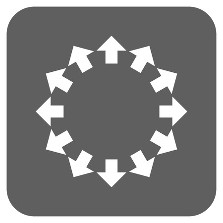 resize: Radial Arrows glyph icon. Image style is a flat icon symbol inside a rounded square button, white and silver gray colors. Stock Photo