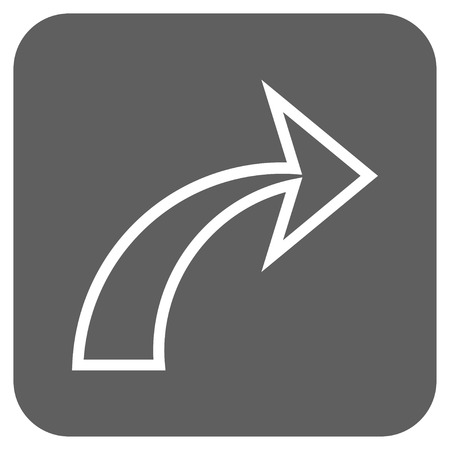 redo: Redo glyph icon. Image style is a flat icon symbol inside a rounded square button, white and silver gray colors.