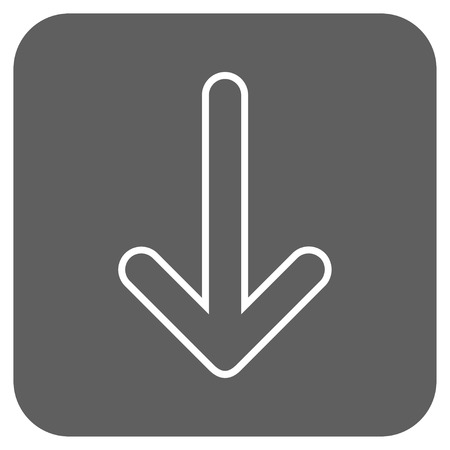 vertical orientation: Rounded Arrow Down glyph icon. Image style is a flat icon symbol in a rounded square button, white and silver gray colors.