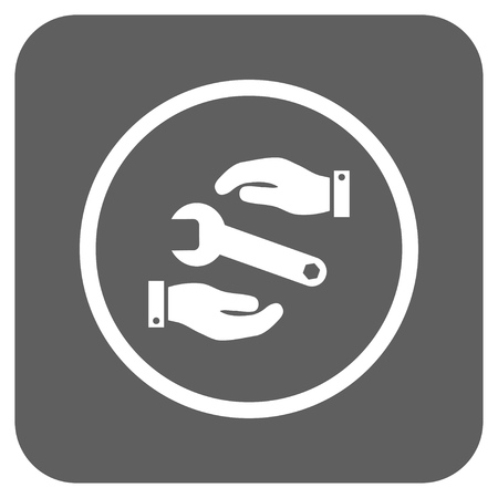 config: Service glyph icon. Image style is a flat icon symbol inside a rounded square button, white and silver gray colors. Stock Photo