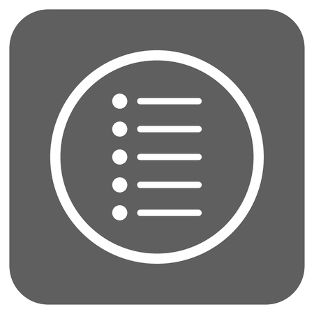 nomenclature: Items glyph icon. Image style is a flat icon symbol in a rounded square button, white and silver gray colors.