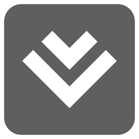 vertical orientation: Shift Down glyph icon. Image style is a flat icon symbol in a rounded square button, white and silver gray colors.