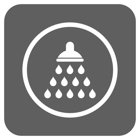 sterilize: Shower glyph icon. Image style is a flat icon symbol on a rounded square button, white and silver gray colors.