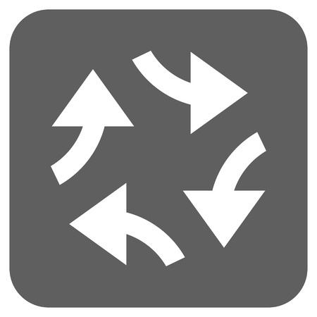 squeeze shape: Swirl Arrows glyph icon. Image style is a flat icon symbol in a rounded square button, white and silver gray colors. Stock Photo