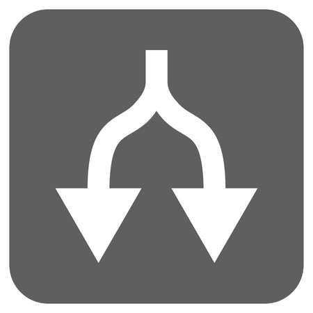 divide: Split Arrows Down glyph icon. Image style is a flat icon symbol in a rounded square button, white and silver gray colors.