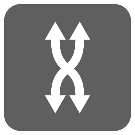 synchronize: Shuffle Arrows Vertical glyph icon. Image style is a flat icon symbol on a rounded square button, white and silver gray colors.