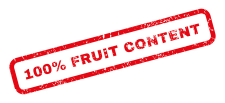 absolute: 100 Percent Fruit Content text rubber seal stamp watermark. Tag inside rectangular banner with grunge design and dirty texture. Slanted vector red ink sticker on a white background.