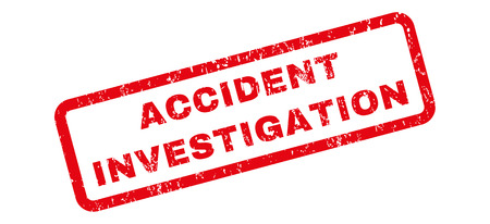 scanned: Accident Investigation text rubber seal stamp watermark. Caption inside rectangular shape with grunge design and dust texture. Slanted vector red ink sticker on a white background. Illustration