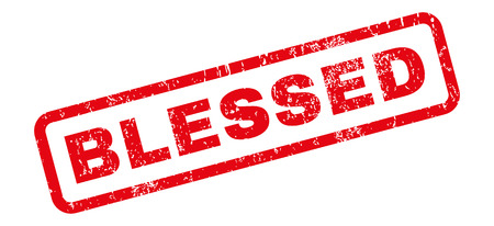 appreciated: Blessed text rubber seal stamp watermark. Tag inside rectangular banner with grunge design and dirty texture. Slanted vector red ink sign on a white background. Illustration