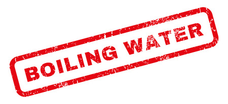 Boiling Water text rubber seal stamp watermark. Caption inside rectangular shape with grunge design and dust texture. Slanted vector red ink emblem on a white background.